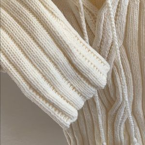 Express Sweaters - Express Cream Knit Sweater with Hood